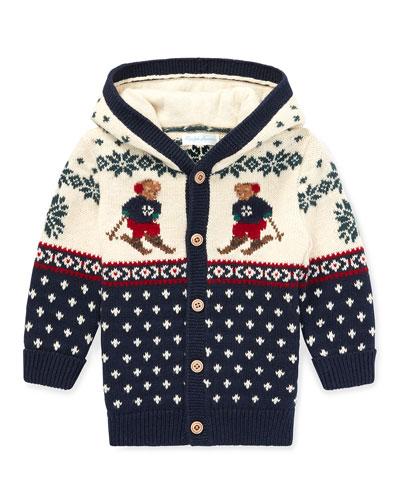 Fair Isle Bear Intarsia Sweater Cardigan, Size 6-24 Months