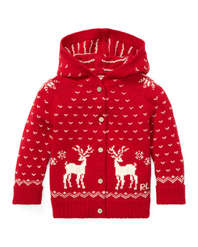Knit Reindeer Hooded Sweater, Size 6-24 Months