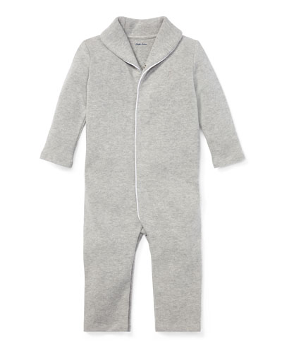 Shawl-Collar Ribbed Coverall, Size 3-12 Months