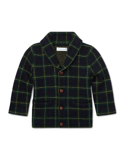 Merino Wool Shawl-Collar Windowpane Cardigan Sweater, Size 6-24 Months