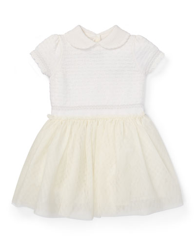 Merino Wool Sweater Dress w/ Mesh Skirt, Size 3-24 Months
