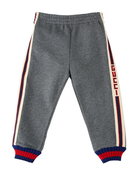 Gucci Logo-Tape Jogging Pants w/ Web Knit Cuffs,