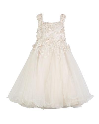 3D Floral Cutout Lace & Tulle Dress  Size 4-14