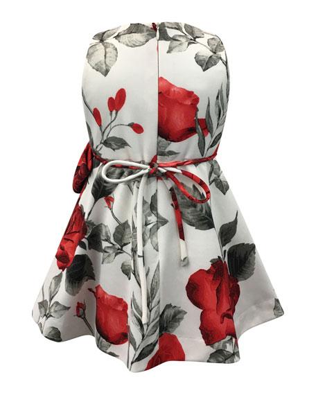 Rose-Print Bow Dress, Size 7-14