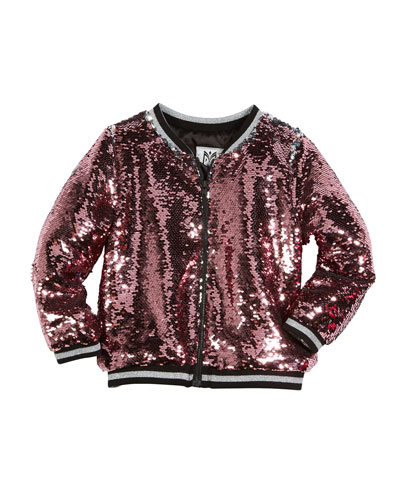 Moveable Sequin Bomber Jacket, Size 8-16