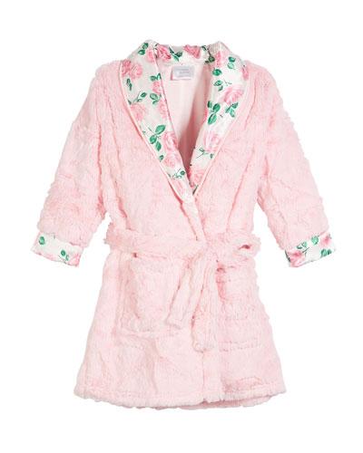 Isabella Faux-Fur Rose Robe, Size 3T-8