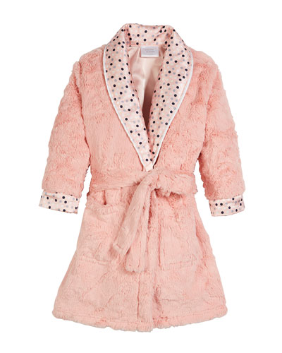 Dottie Faux-Fur Dot Robe, Size 3T-8