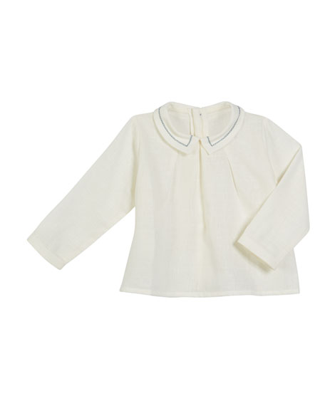PILI CARRERA Long-Sleeve Contrast-Stitch Top, Size 6M-3 in White