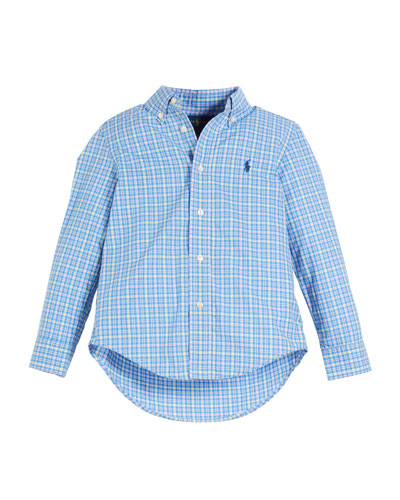 Poplin Plaid Button-Down Shirt, Size 2-4