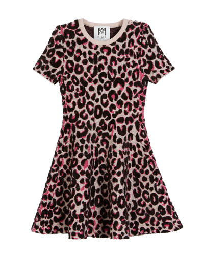 Textured Cheetah Fit-and-Flare Dress, Size 8-14