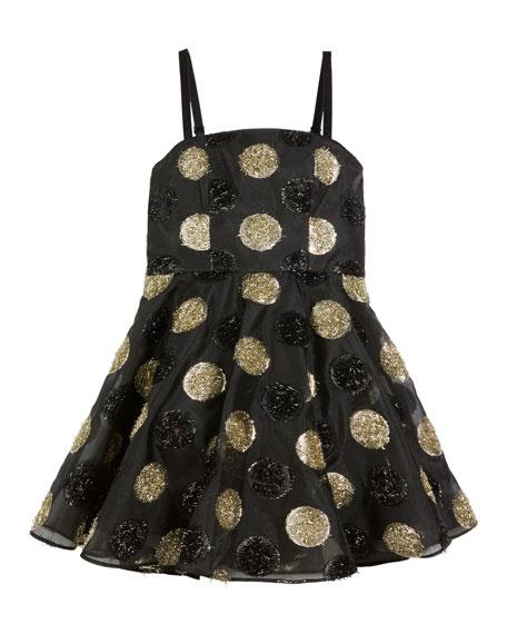 Milly Minis Textured Polka-Dot Spaghetti-Strap Dress, Size 8-16