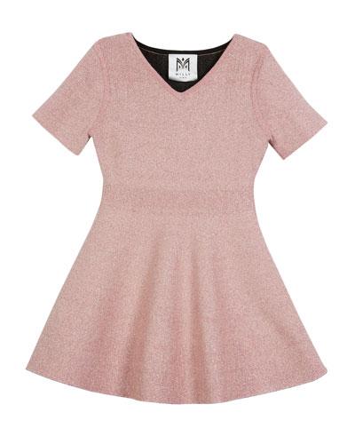 Metallic Double-Knit Dress, Size 4-7