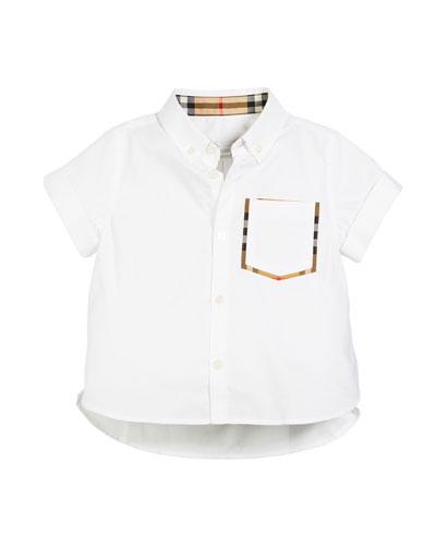 Harry Short-Sleeve Check-Trim Pocket Shirt  Size 3-14