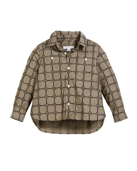 Beagle Flower Grid Collared Shirt, Size 3-14