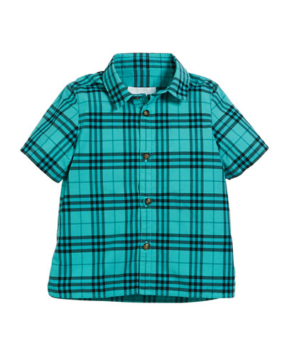 Sammi Dyed Check Short-Sleeve Collared Shirt, Size 3-14