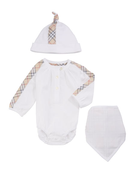 ad9f0a320d10f Burberry Berta Check-Trim 3-Piece Layette Set