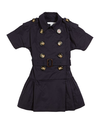 Cynthie Short-Sleeve Double-Breasted Button Dress, Size 3-14