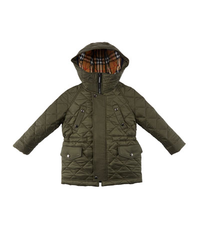 Tyler Diamond-Quilted Hooded Coat  Size 3-14