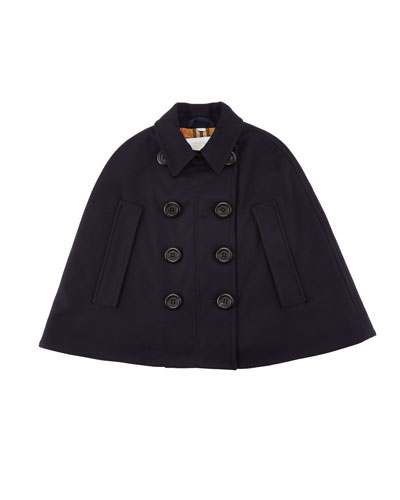 Spencer Virgin Wool Double Breasted Cape, Size M-L