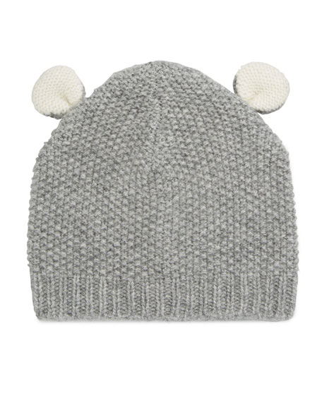 Textured Knit Cashmere Bear Ears Baby Hat