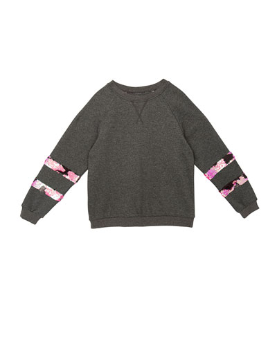 Ariel Sequin-Trim Sweatshirt, Size S-XL