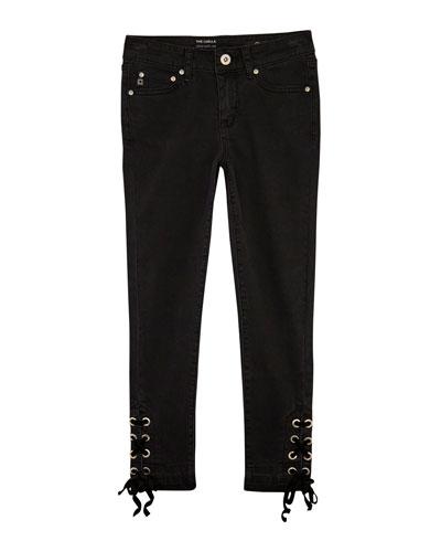 Luella Skinny Crop Jeans w/ Self-Tie Grommet Ankles  Size 7-14