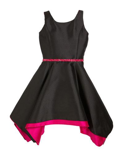 Sleeveless Handkerchief Dress with Crystal Belt  Size 7-16