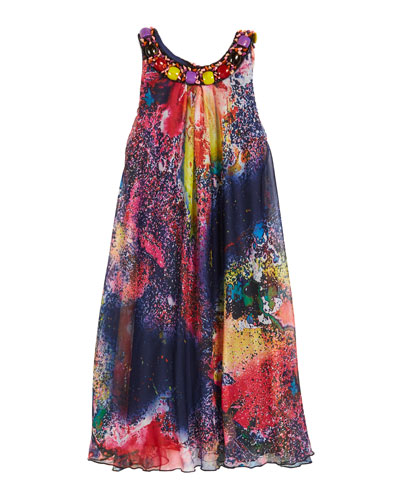 Mirage Printed Dress with Jeweled Neck, Size 7-16