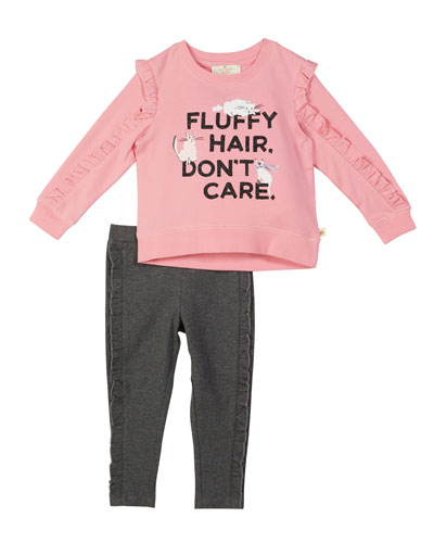 fluffy hair cat sweatshirt w/ leggings  size 2-6x