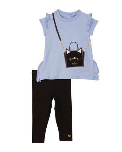 ruffle-trim trompe l'Oeil tee w/ solid leggings, size 12-24 months