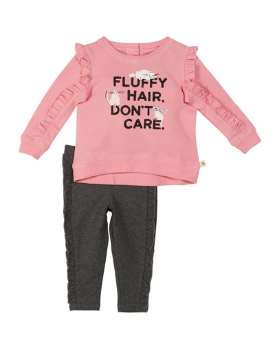 fluffy hair cat sweatshirt w/ leggings, size 12-24 months