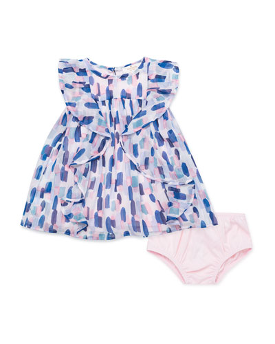 brush stroke-printed ruffle dress w. solid bloomers, size 12-24 months