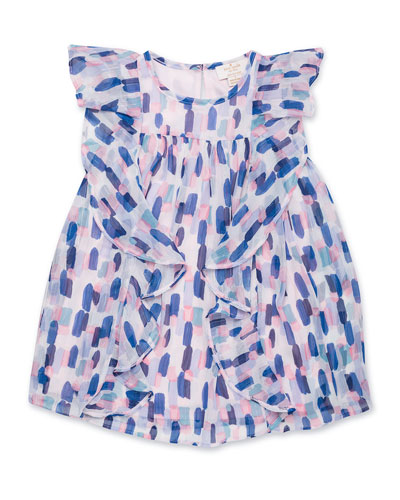 brush stroke-printed ruffle dress  size 2-6x