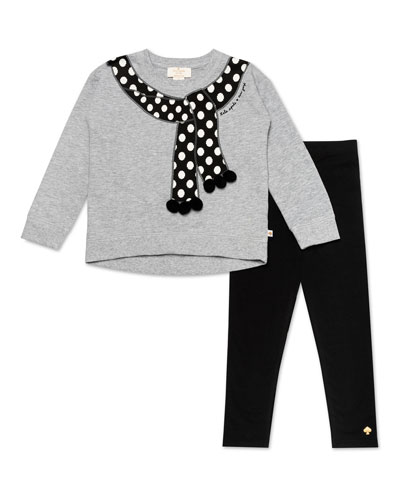 trompe l'oeil polka-dot scarf sweater w/ solid leggings, size 2-6x