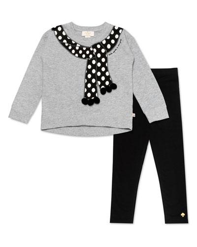 trompe l'oeil polka-dot scarf sweater w/ solid leggings, size 12-24 months