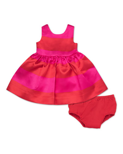 carolyn striped satin sleeveless dress w/ bloomers, size 12-24 months