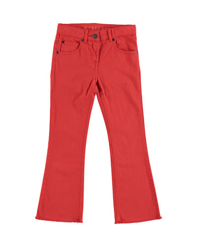 Skinny Flare Raw-Hem Denim Pants, Size 4-14