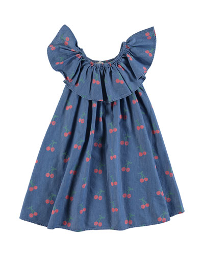 Chambray Cherry-Print Ruffle-Collar Dress, Size 4-14
