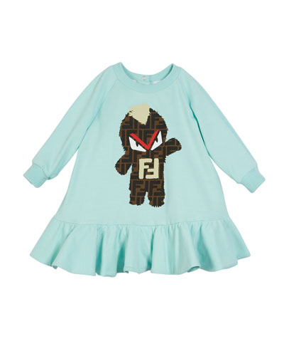 FF Monster Graphic Ruffle-Hem Dress  Size 4-14
