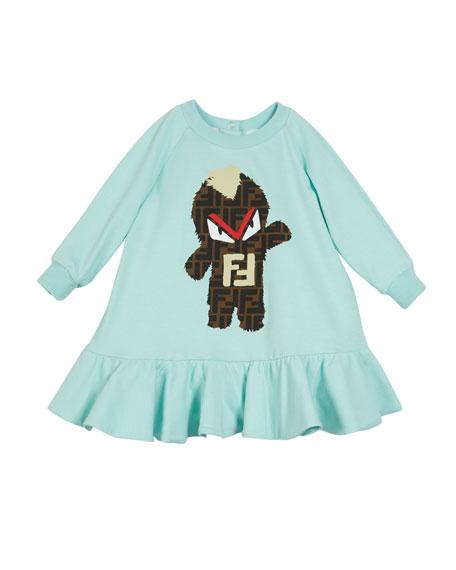 FF Monster Graphic Ruffle-Hem Dress, Size 4-14