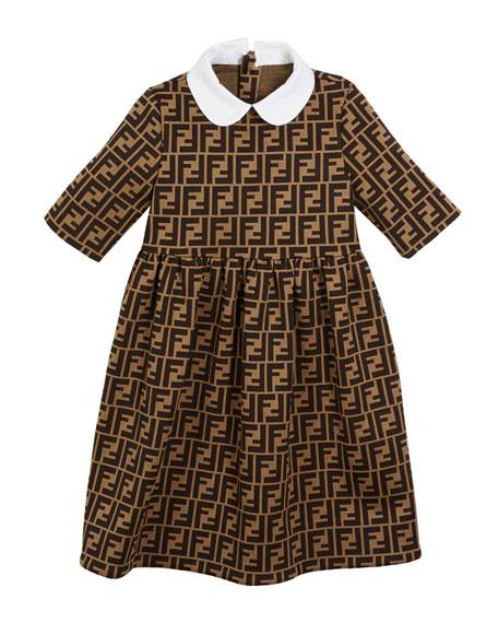FF Jacquard Peter Pan-Collar Dress, Size 3-5