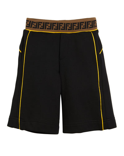 Contrast-Piping Shorts w/ FF Waistband  Size 4-14