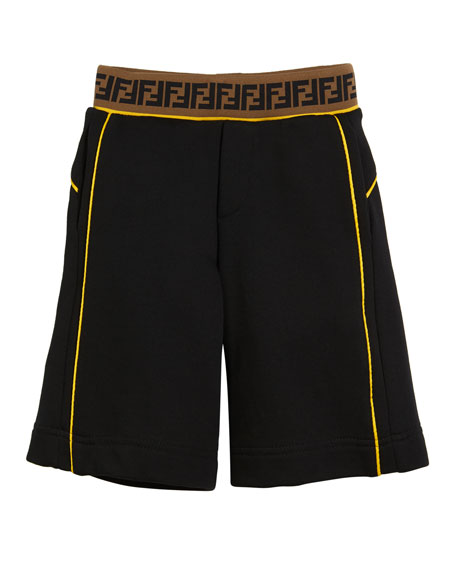 Contrast-Piping Shorts w/ FF Waistband, Size 4-14