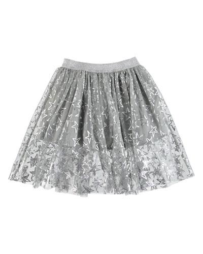 Metallic Stars A-Line Skirt  Size 4-14