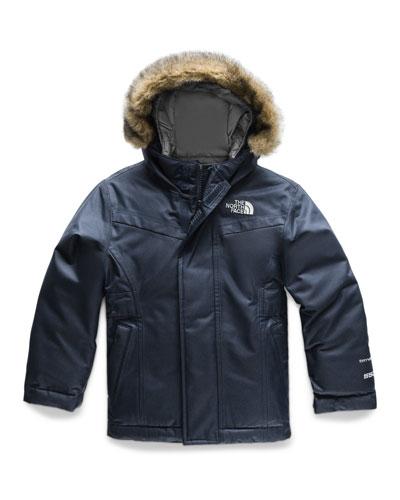 Greenland Down Hooded Jacket w/ Faux-Fur Trim, Size 2-4T