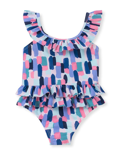 brush stroke-print ruffle one-piece swimsuit  size 12-24 months