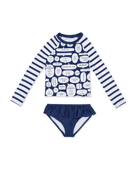 e90ec72a8 kate spade new york speech bubble-print rash guard w/ bottoms, size 12-24  months