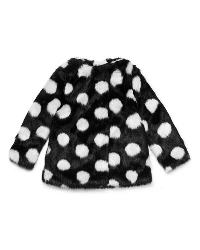 polka-dot faux-fur coat, size 7-14