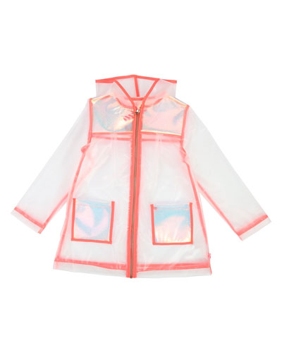 Transparent Hooded Raincoat  Size 4-12