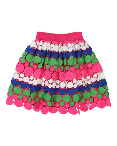 Long Multicolored Lace Overlay Skirt  Size 4-12